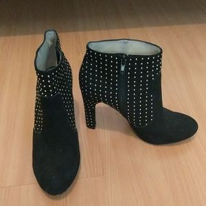 INC gold studded booties